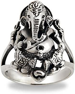 925 Sterling Silver Hindu Ganesh Elephant God Ring